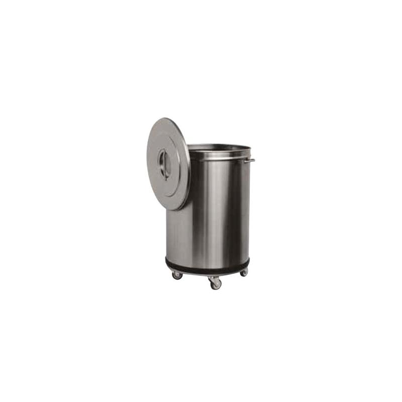 poubelle en inox sur roulettes sans p dale 100 l avec. Black Bedroom Furniture Sets. Home Design Ideas