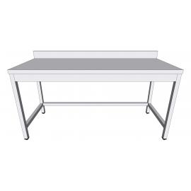 Table de travail adossée en inox à monter sans sous-tablette profondeur 60cm