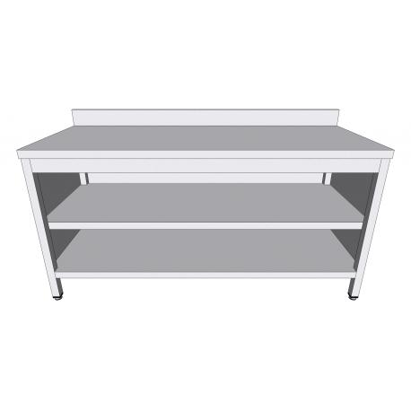 Table-armoire adossée ouverte en inox profondeur 70cm