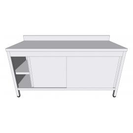 Table-armoire adossée à portes coulissantes en inox profondeur 60cm