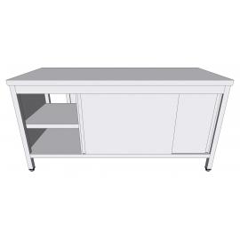 Table-armoire centrale passante à portes coulissantes en inox profondeur 60cm
