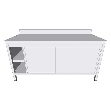 Table-armoire adossée à portes coulissantes en inox profondeur 70cm