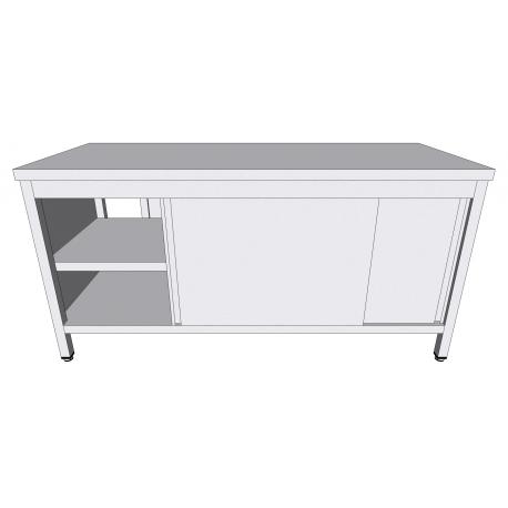 Table-armoire centrale passante à portes coulissantes en inox profondeur 70cm