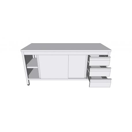 Table-armoire centrale à portes coulissantes en inox avec tiroirs latéraux profondeur 60cm