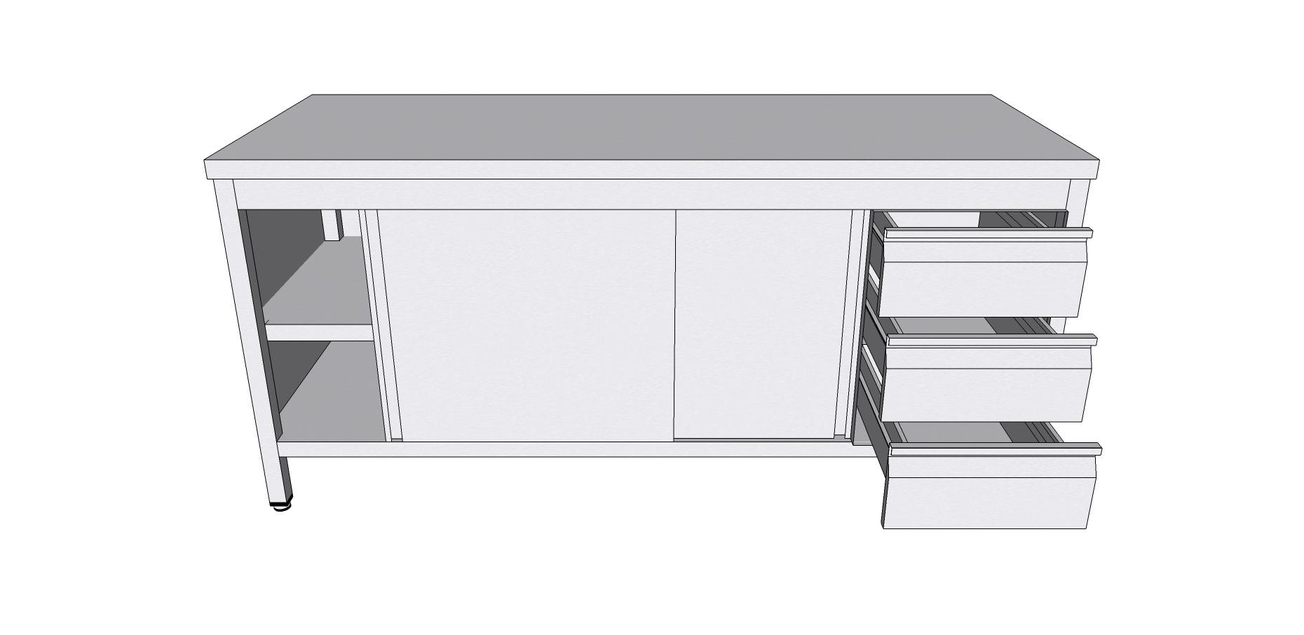 Table Armoire Centrale A Portes Coulissantes En Inox Avec Tiroirs