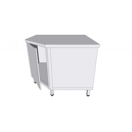 Table armoire de coin à porte battante en inox avec tiroirs profondeur 60cm