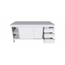 Table-armoire centrale à portes coulissantes en inox avec tiroirs latéraux profondeur 70cm