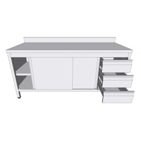 Table-armoire adossée à portes coulissantes en inox avec tiroirs latéraux profondeur 60cm