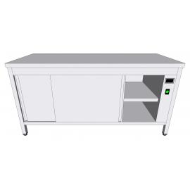 Table-armoire centrale chauffante en inox à portes coulissantes profondeur 70cm