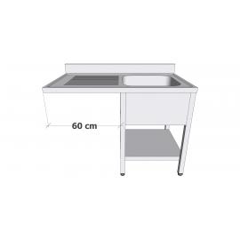 Plonge en inox avec sous-tablette et espace lave-vaisselle 1 bac égouttoir à gauche profondeur 60cm
