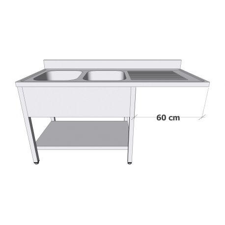 Plonge en inox avec sous-tablette et espace lave-vaisselle 2 bacs égouttoir à droite profondeur 60cm