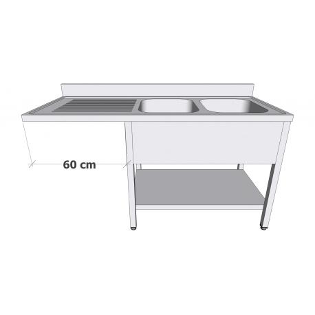 Plonge en inox avec sous-tablette et espace lave-vaisselle 2 bacs égouttoir à gauche profondeur 60cm