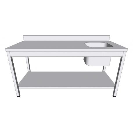 Table évier en inox adossée avec sous-tablette bac à droite profondeur 70cm