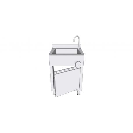 Lave-mains en inox sur armoire à porte battante avec commande fémorale