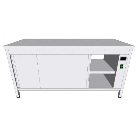 Table-armoire centrale chauffante passante en inox à portes coulissantes profondeur 70cm