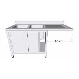 Plonge en inox sur armoire à portes coulissantes avec espace lave-vaisselle 2 bacs égouttoir à droite profondeur 60cm