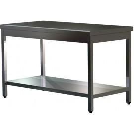 """Table """"PRESTIGE"""" centrale en inox AISI 304 15/10 à monter avec sous-tablette profondeur 70 cm"""