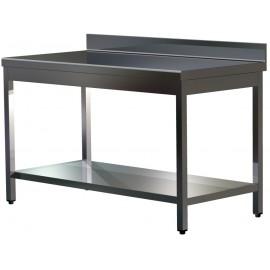 """Table """"PRESTIGE"""" adossée en inox AISI 304 15/10 à monter avec sous-tablette profondeur 70 cm"""