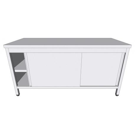 Table-armoire centrale à portes coulissantes en inox profondeur 70cm