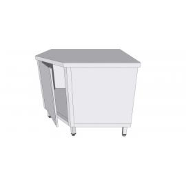 Table armoire de coin à porte battante en inox avec tiroirs profondeur 70cm