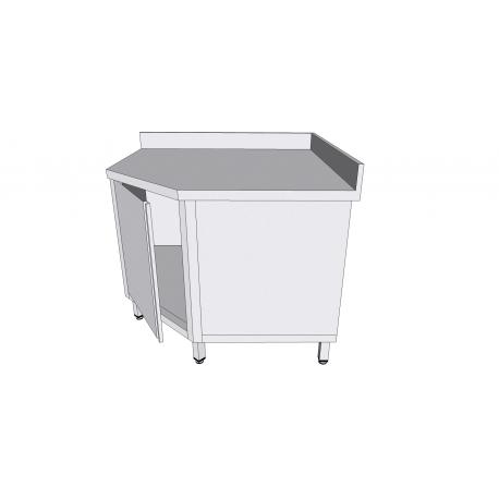 Table armoire de coin adossée à porte battante en inox avec tiroirs profondeur 70cm