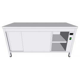 Table-armoire centrale chauffante en inox à portes coulissantes profondeur 60cm
