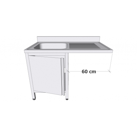 Plonge en inox sur armoire à porte battante avec espace lave-vaisselle 1 bac égouttoir à droite profondeur 60cm