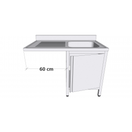Plonge en inox sur armoire à porte battante avec espace lave-vaisselle 1 bac égouttoir à gauche profondeur 60cm