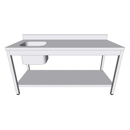 Table évier en inox adossée avec sous-tablette bac à gauche profondeur 60cm