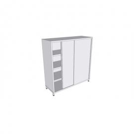 Armoire verticale en inox sur pieds à portes coulissantes profondeur 60cm