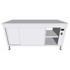 Table-armoire centrale chauffante passante en inox à portes coulissantes profondeur 60cm