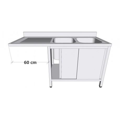 Plonge en inox sur armoire à portes coulissantes avec espace lave-vaisselle 2 bacs égouttoir à gauche profondeur 60cm