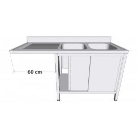 Plonge en inox sur armoire à portes coulissantes avec espace lave-vaisselle 2 bacs égouttoir à gauche profondeur 70cm
