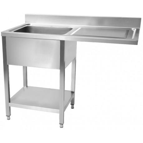 Plonge en inox avec sous-tablette et espace lave-vaisselle 1 bac égouttoir à droite profondeur 60cm